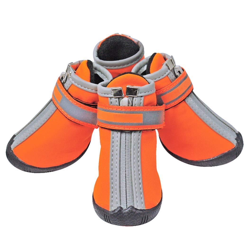 orange 3 orange 3 SENERY Pet Dog shoes Boots,Waterproof Anti-Slip Winter Reflective Pet Rain Boots Footwear for Dog