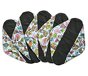 5 Pieces Charcoal Bamboo Mama Cloth/ Menstrual Pads/ Reusable Sanitary Pads