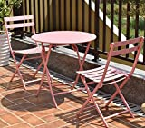 K&A Company Folding Table Set Outdoor Patio Dining Chair Furniture Steel Metal Frame Chairs Bistro Garden 3 pcs Pink For Sale