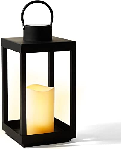 Solar Candle Holder Lantern – 14 Inch Tall, Matte Black Metal Frame, Waterproof Flameless Pillar Candle, Dusk to Dawn Timer, Large Size for Floor or Patio Decor, Battery Included