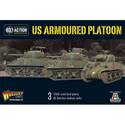 Pack Of 3 Us Armoured Platoon Shermans Miniatures: Toys & Games