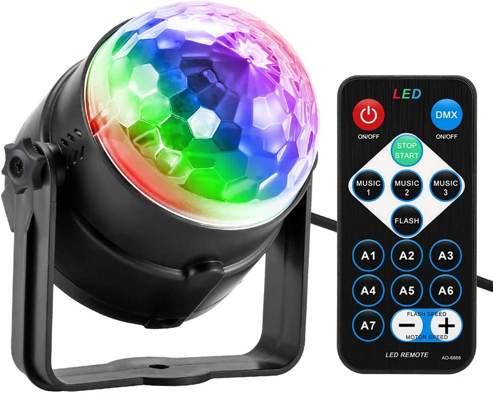 Disco Ball, Disco Lights Party Light Sound Activated Party Lights with Remote Control, 7 Color Modes Strobe Light for Home Room Dance Birthday DJ Bar Karaoke Xmas Wedding