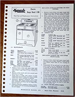 Monarch Electric Range Model F118R Parts List, Replacement Instructions,  and Schematic Wiring Diagram (Monarch Range Company, Beaver Dam, Wisconsin,  E119): Monarch Range Company: Amazon.com: Books | Beaver Wiring Diagrams |  | Amazon.com