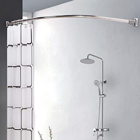 Allright Telescopic Chrome Curved Shower Curtain Rod Extendable