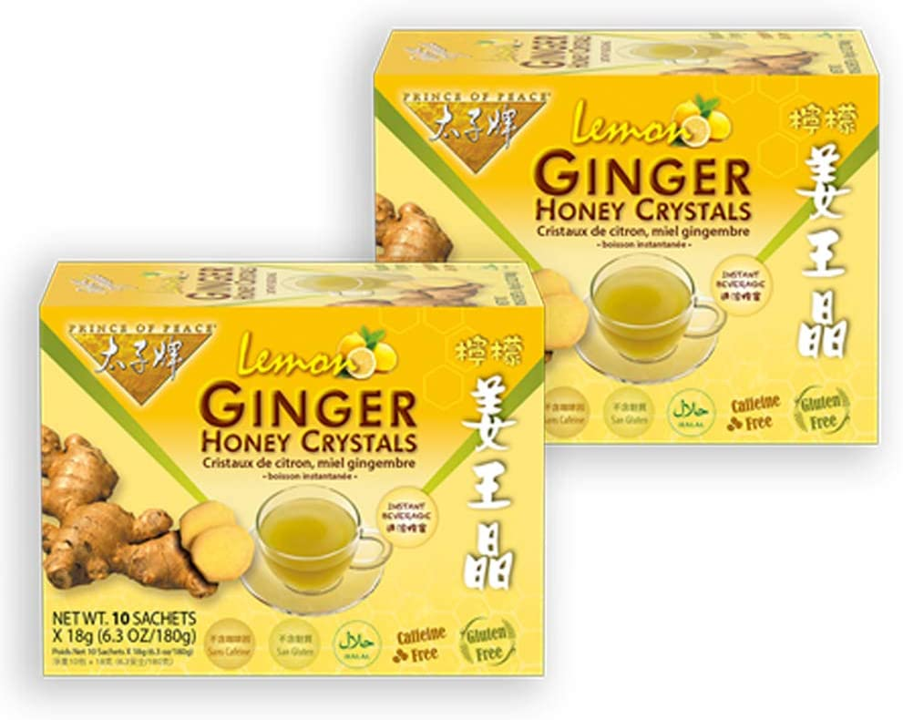 Prince of Peace Instant Lemon Ginger Honey Crystals, 2 Packs of 10 Sachets – Instant Hot or Cold Beverage for Nausea Relief and Soothes Throat – Easy to Brew Ginger and Honey Crystals – Drink Like a