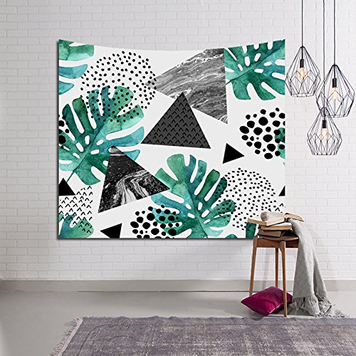 - HYSENM Tropical Plant Monstera Tapestry Banana Leaves Wall Art Hanging Blanket for Bedroom Dorm Décor, Monstera/Geometric 59x51 Inches