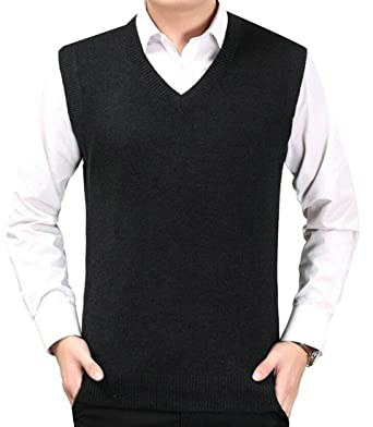 LD Mens Slim Fit V-Neck Knit Pullover Sweater Vest Jumper ...