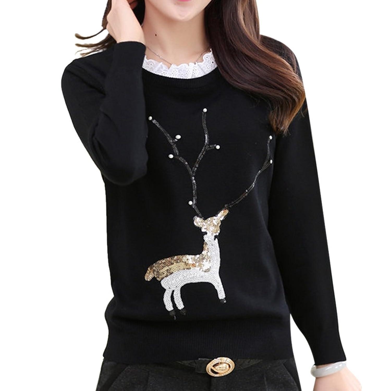 MNBS Women's Lace Neck Sequin Reindeer Pattern Warm Sweater Casual Jumper