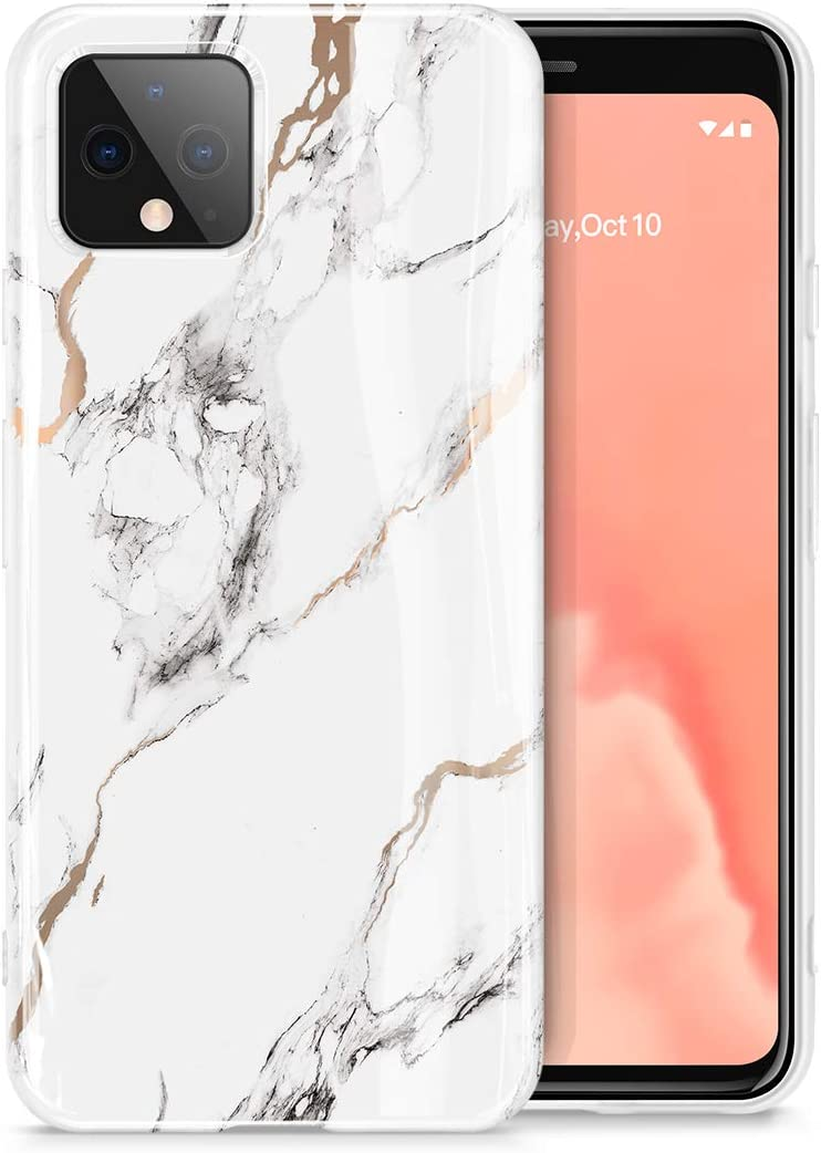 GVIEWIN Nature Series for Google Pixel 4 Case, Ultra Slim Thin Glossy Soft TPU Rubber Gel Marble Phone Case Cover Compatible with Google Pixel 4 2019 Release (White/Gold)