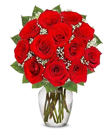 Amazon Flowers One Dozen Long Stemmed Red Roses Free Vase