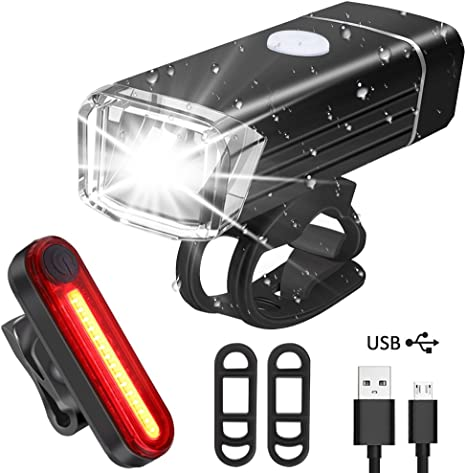Luces Bicicleta Recargable USB, Qhui Super Brillante Impermeable ...