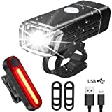 QHUI Bike Lights, USB Rechargeable Bike Light Set,Mountain Bicycle Light,Led 4 Light Mode,Waterproof Easy Install Ultimate Lighting Safety Pack Front Cycle Lights Headlight Back Tail/Rear Lights