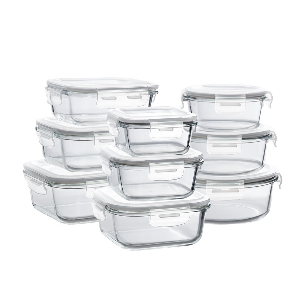 Glass Storage Containers with Lids, 9-Pack Glass Meal Prep Containers Airtight, Glass Food Storage Containers, Glass Containers for Food Storage with Lids - BPA-Free & FDA Approved & Leak Proof