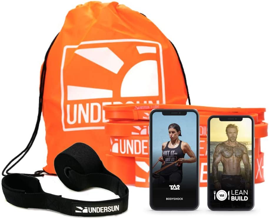Undersun Fitness Fat Burn Home Workout Bundle - Includes 5 Resistance Bands, Workout & Nutrition Program. 5 Different Levels of Resistance Bands.