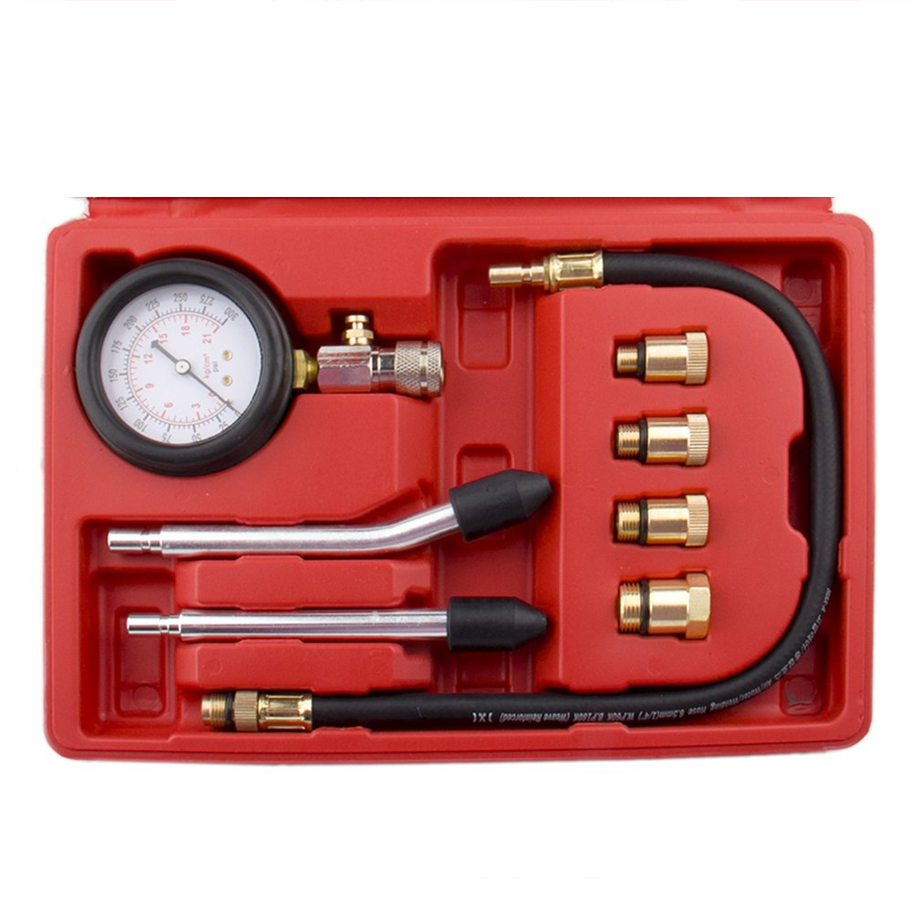 Bang4buck 8 Pieces Engine Compression Gauge Test Set Cylinder Diagostic Tool Kit 0-300 PSI 0-20 KPA with Manual by Bang4buck (Image #3)