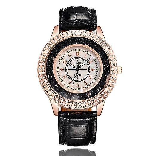 Relojes Mujer,❤LMMVP❤Reloj de pulsera de cristal femenino de acero inoxidable de