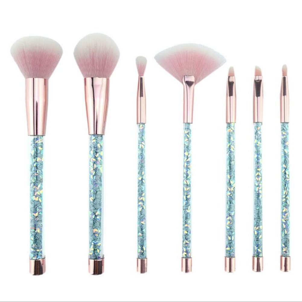 Coshine 7pcs Blue Unicorn Series Shiny Crystal Glitter Acrylic Handle Nylon Hair Makeup Tool Brush Set With Crystal Glitter Pouch