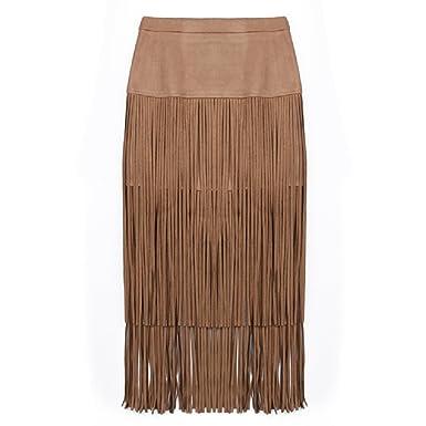 8b28da695a Women's Fringed Tassel Skirt Midi Straight Pencil Wiggle Bodycon High Waist  Skirt at Amazon Women's Clothing store: