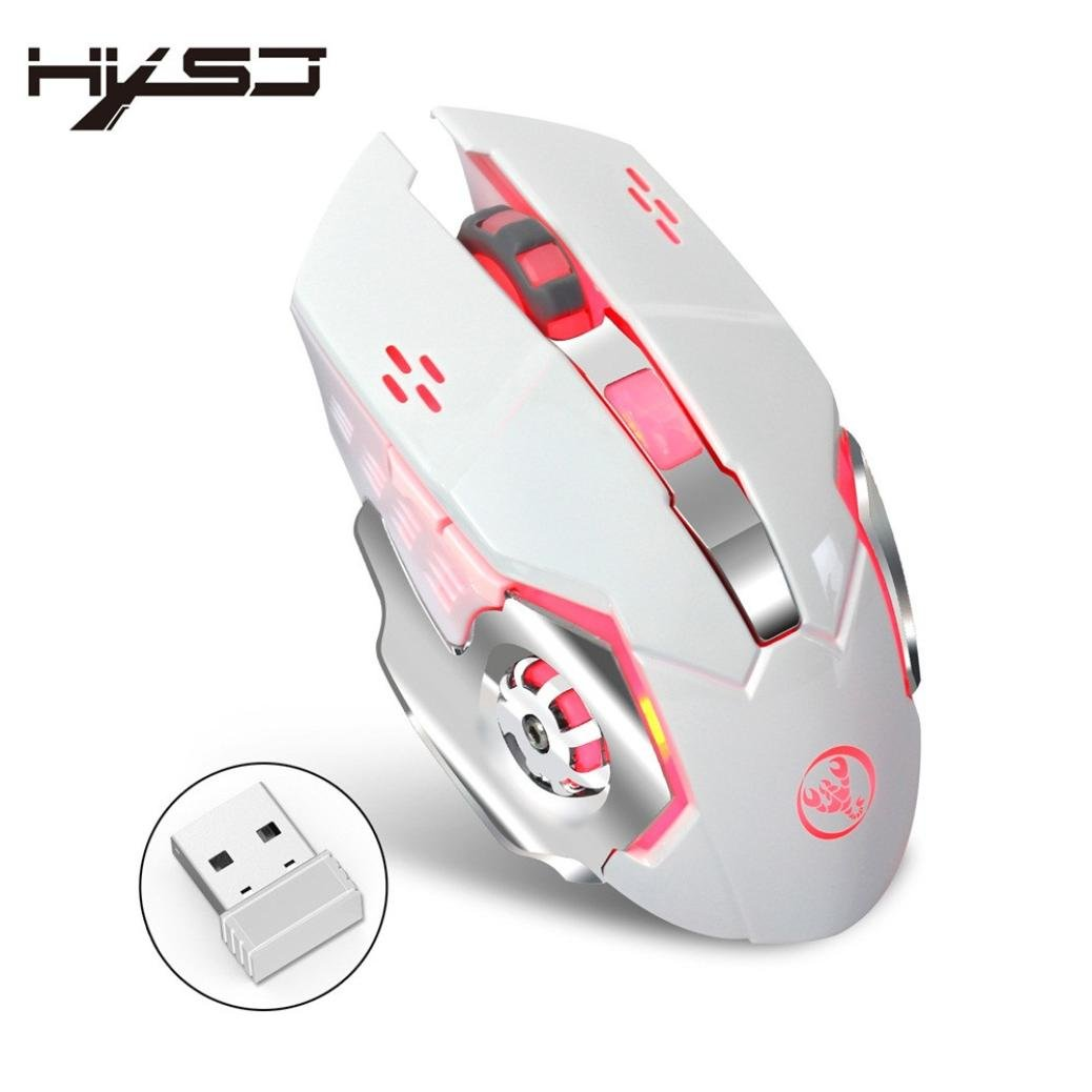 Waymine Rechargeable 2400dpi Wireless Gaming Mouse 24g Dreamcast Controller Usb Wiring Diagram Battery Gamer 6 Buttons Mice For Notebook Pc Laptop Computer Macbook White