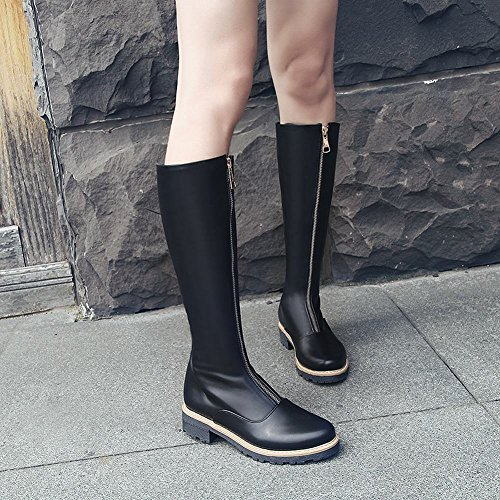Carolbar Mode Féminine Confort Automne Zip Talon Bas Genou Haute Bottes Noir