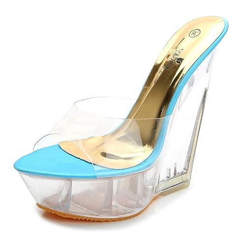 31807f69604cf mujer Sandalias Sandalias de tacón alto de suela gruesa de verano para mujer  Zapatillas transparentes de