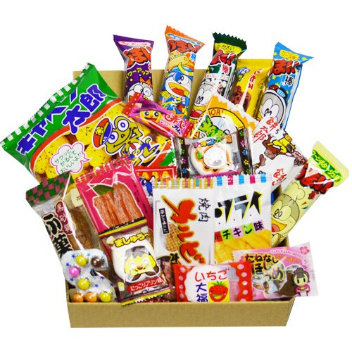 - Japanese Candy Dagashi Box 20pcs Umaibo Snack Gumi potato Chip Kitty chocolate w/ AKIBAKING Sticker