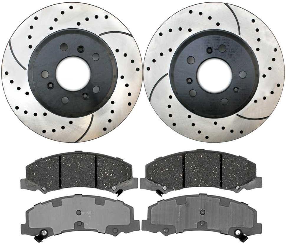 Premium Drilled and Slotted Disc Brake Rotors Pair and Ceramic Pads Front Set