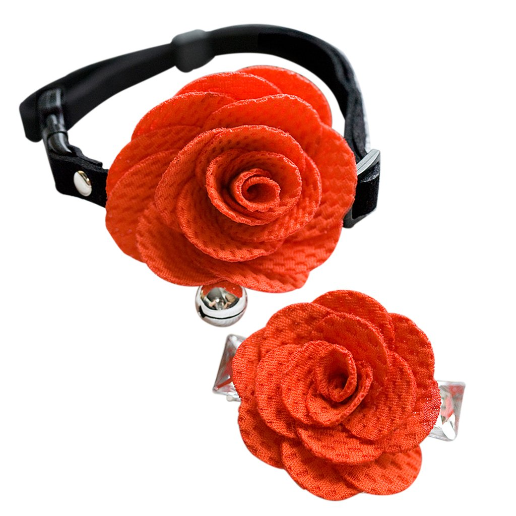 Ensemble Collier Cloche Fleur Barrette à Cheveux pour Chien Chiot Chat - Rose Generic STK0153003603