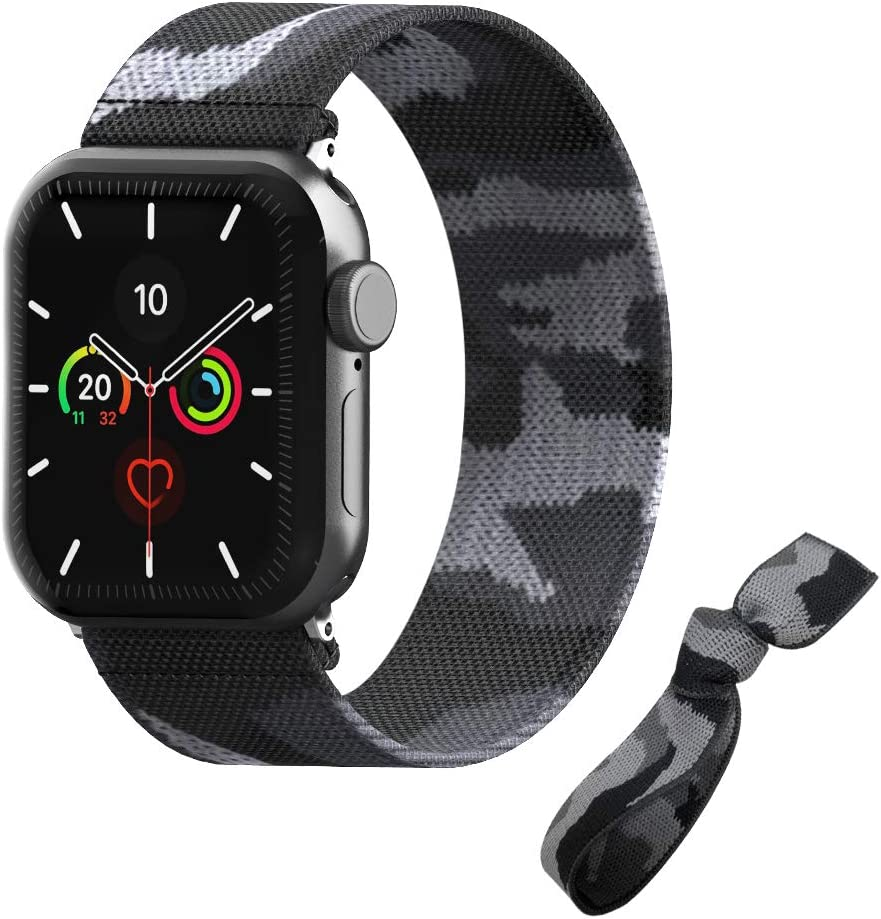 UooMoo Elastic Bands Compatible with Apple Watch 38mm 40mm,Soft Thin Single-Layer Stretch Strap Replacement for iWatch Series 5/4/3/2/1 [Extra Elastic Headbands Included]