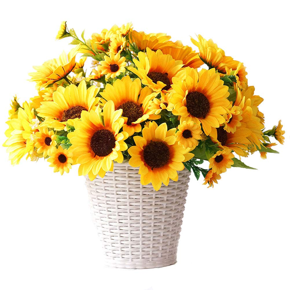 Sunrisee Artificial Sunflowers 4 Bunches Fake Silk Flower Bouquet Artificial Flowers for Home Wedding Office Party Decor, 11.8