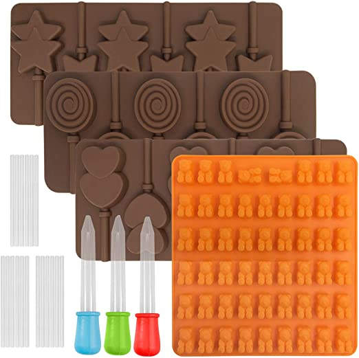FineGood Silicone Chocolate Candy Gumdrop Cookie Baking Mould Ice Cube Trays Pan Craft Mold with 3 pcs Droppers 4 pcs Lollipop Mold Jelly Mold
