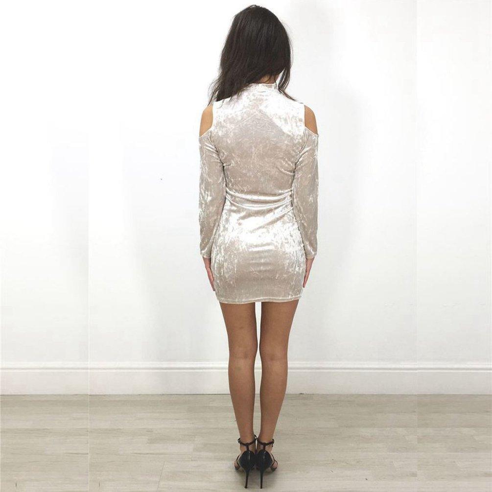 Dooxi Donna Eleganti Scollo a V Maniche Lunghe Velluto Vestito Mini Bodycon Abiti da Cocktail