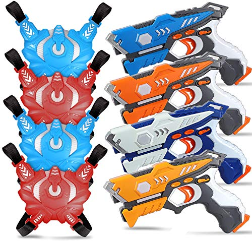 POKONBOY 4 Sets Infrared Laser Tag Guns with 4 Guns and 4 Vests for Kids and Adults of 4 Players