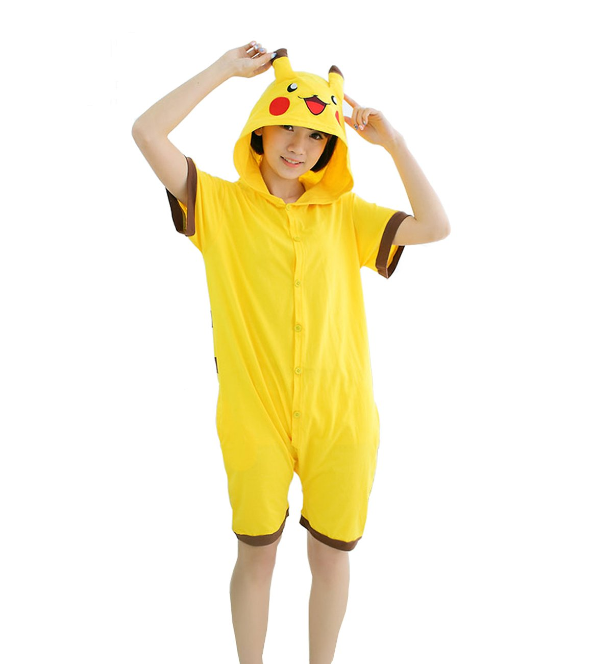 Yimidear Unisex Pikachu Costume Summer Cute Cartoon Cotton Pajamas Animal Onesie (M)