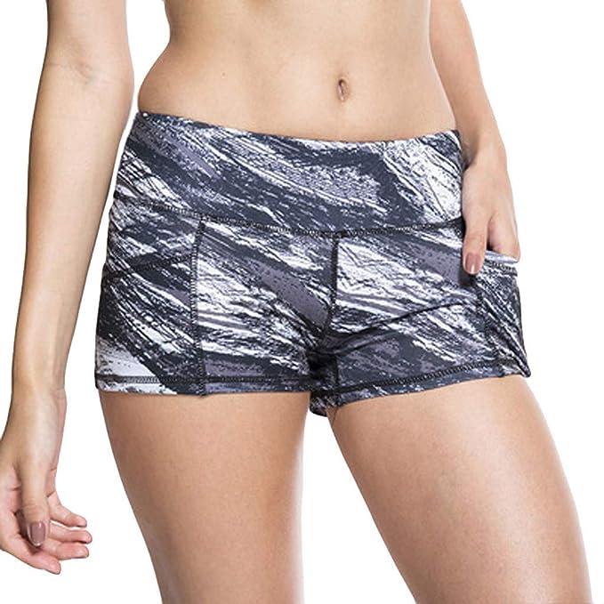 VPASS Mujer Pantalones Cortos Yoga elásticos Impresión ...