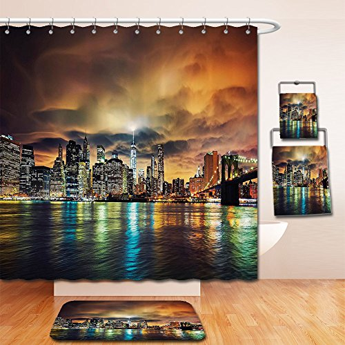 LiczHome Bath Suit: Showercurtain Bathrug Bathtowel Handtowel NYC Decor Collection View of Manhattan At Sunset Dramatic Sky CloudDark Evening Architecture Picture Polyester Fabric Brown Yellow Green (Capitale Nyc Halloween)