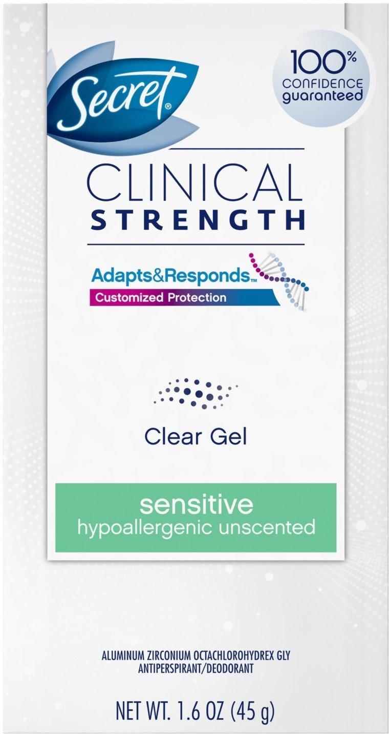 Secret Clinical Strength Clear Gel Antiperspirant & Deodorant Sensitive, Unscented 1.6 oz (Pack of 11)