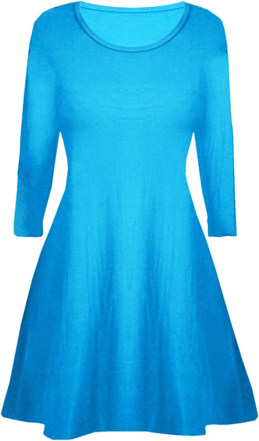Fashion Star Kids Girls Womens Plain Long Sleeves Flare Franki A Line Mini Skater Swing Dress Top Age 5-13 Years