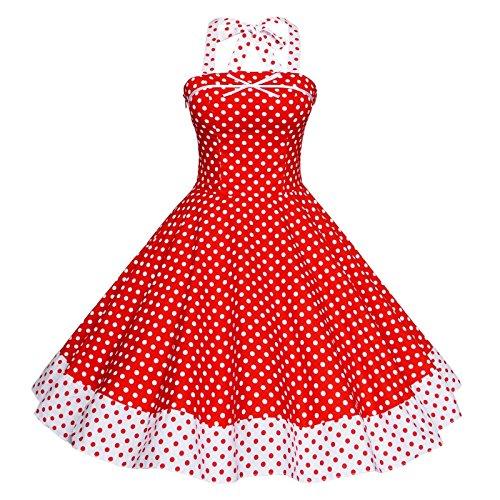 Rockabilly Rosso Vestito 1950 Tang Maggie Delle Donne Vintage Oqq0RX