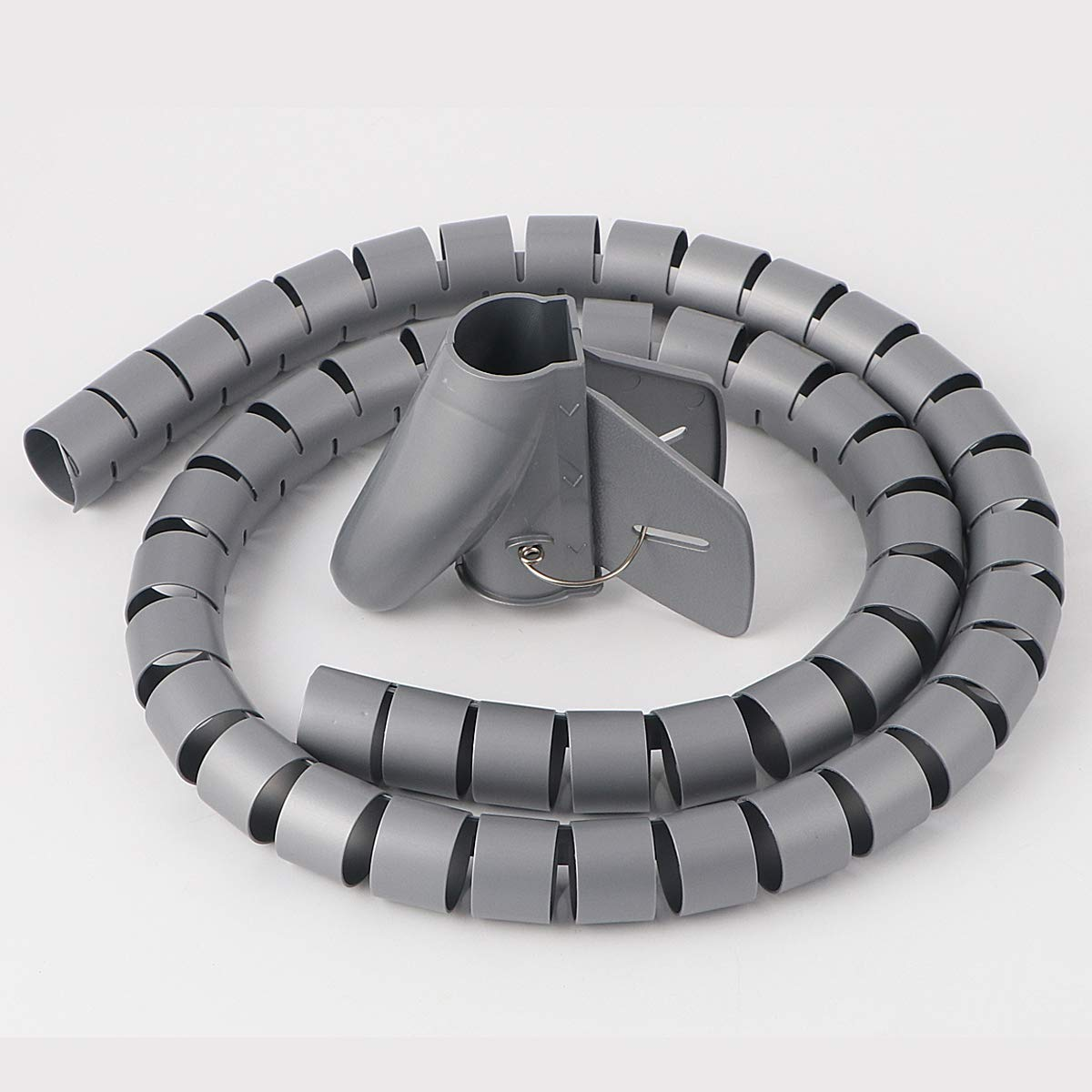 Mcree Cable Tube Organizer Flexible & Expandable Cable Management Sleeve Coiled Tube Cable Collector, Dia. 0.78 Inch - Length. 4.9 Foot, Grey Dazzling Sunshine