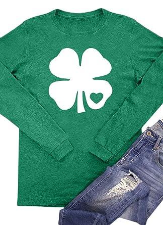 1a97dce40 St Patrick's Day Women Green Shamrock Irish Top Long Sleeve Baseball T  Shirt Clover S