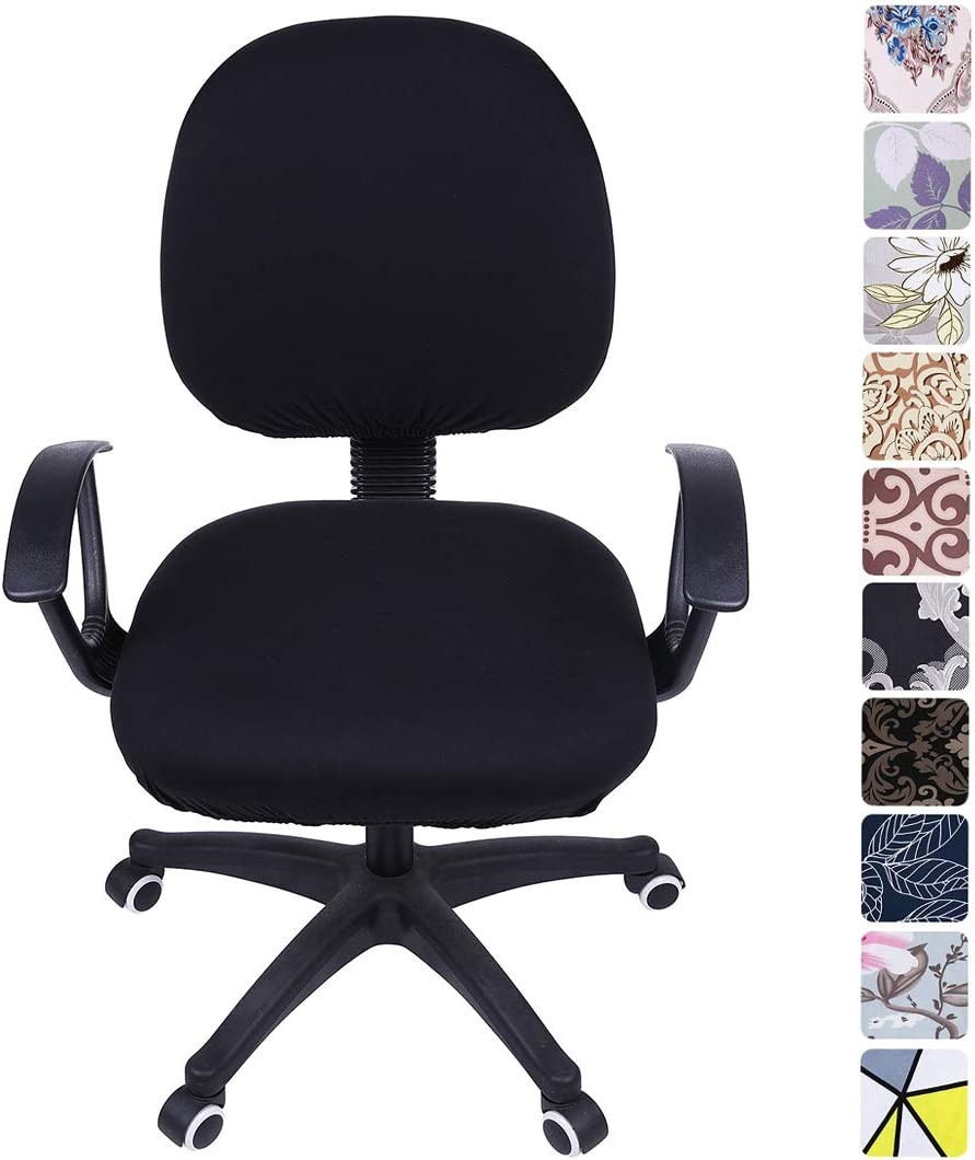 smiry Stretch Print Computer Office Chair Cover, Removable Washable Universal Desk Rotating Chair Slipcover, Black
