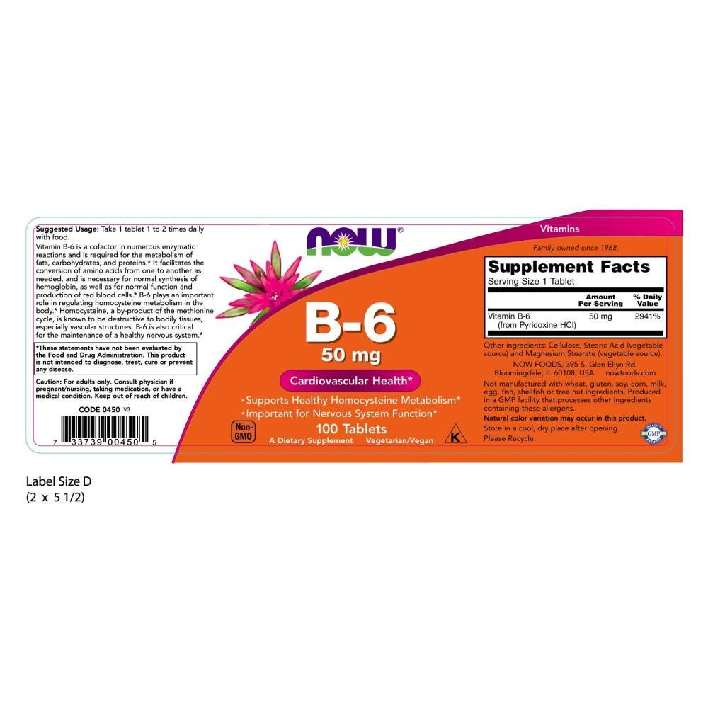 NOW Supplements, Vitamin B-6 (Pyridoxine HCl) 50 mg, Cardiovascular Health*, 100 Tablets