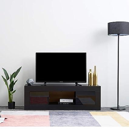 Porta TV LED in vetro con 2 ante su soggiorno, soggiorno e ...