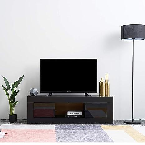 Noir WISFORBEST Meuble TV LED Banc TV Bas pour /Écrans Jusqu/à 60 Pouces Armoire TV avec 1 Compartiment Ferm/é et 2 Tablettes en Verre Id/éal pour Salon//Chambre 130 x 35 x 45cm