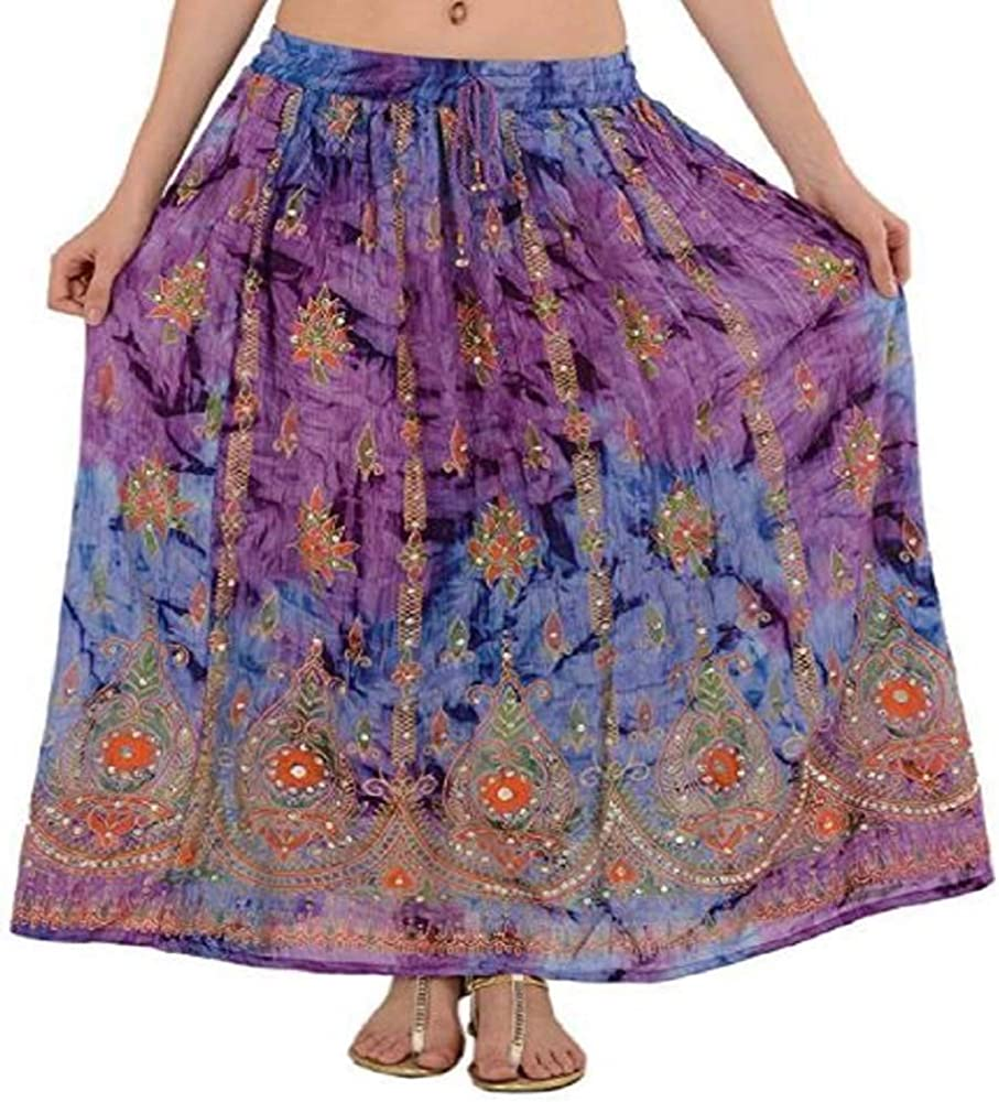 Sharvgun Women's Indian Sequin Crinkle Broomstick Gypsy Long Skirt Long Maxi Evening Beach Skirt