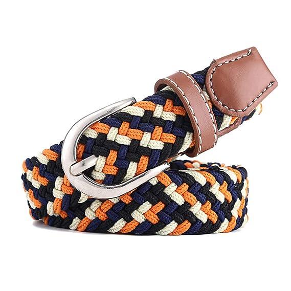 KINDOYO Cinturón Casual Elástica Trenzada - La moda Hebilla Metálica de  Cuero Marrón edff618ceafa