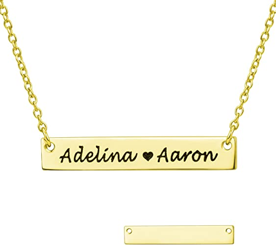 Personalized Bar Necklace Bridesmaid Gift for her  Name Bar Engraved NamePlate