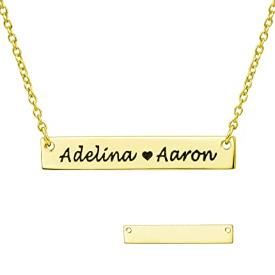 c83f0c901d6c8 LONAGO Personlized Bar Name Necklace with Simulated Birthstone Engraved  Initial Nameplate Pendant Custom Women Bridesmaid Wedding Jewelry Gift