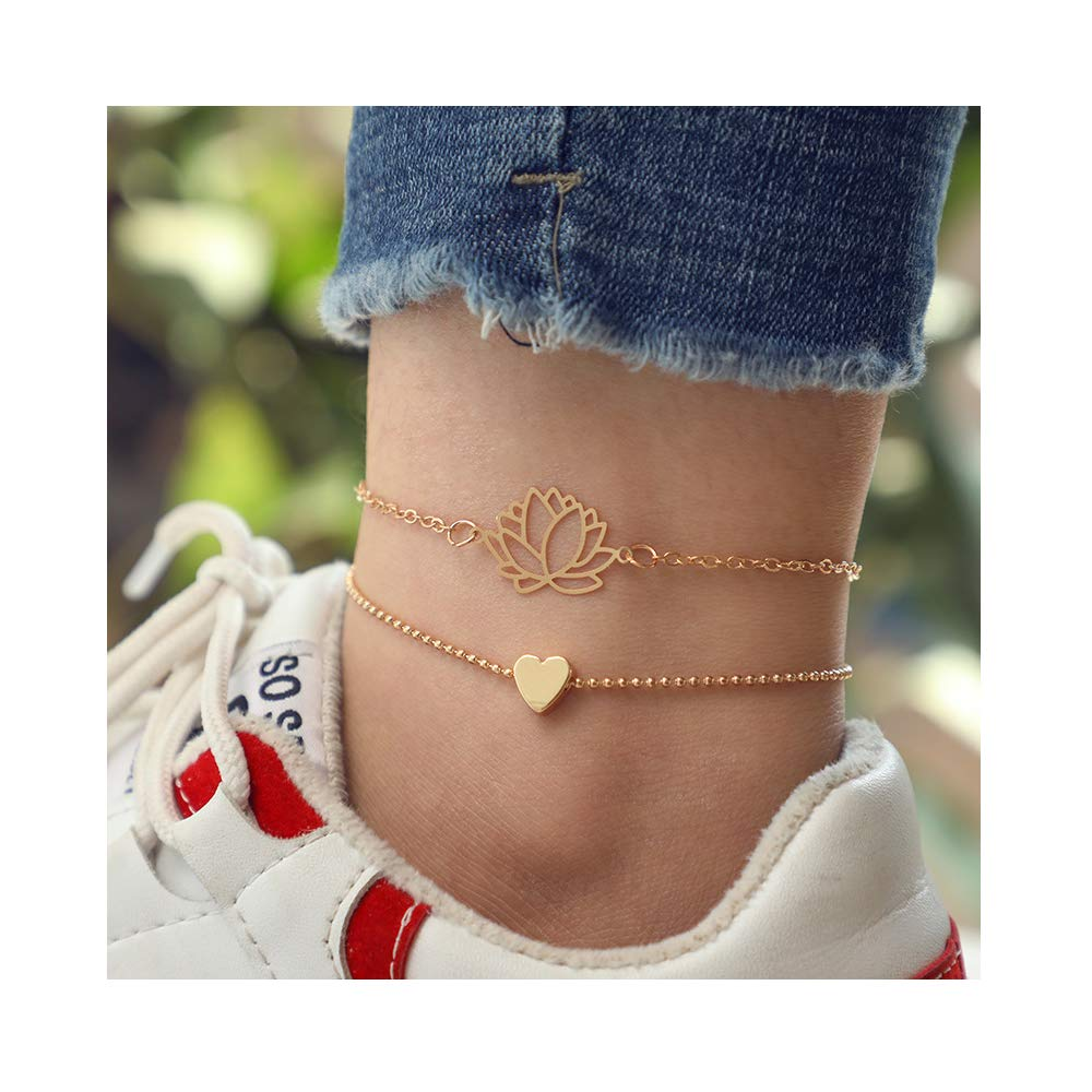 Dwcly Multilayer Chain Lotus Flower Anklet Bracelet Love Heart Foot Jewelry Fashion Gift for Her